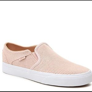 Perforated Suede Light Pink Slip on Vans